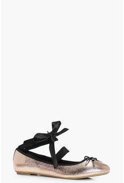 Alicia Metallic Ribbon Detail Ballet Pumps