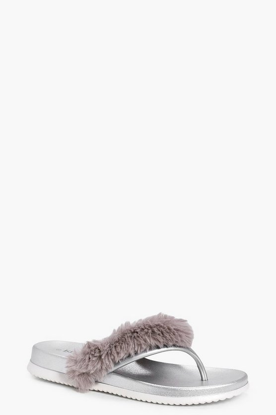Mollie Faux Fur Toe Post Slider