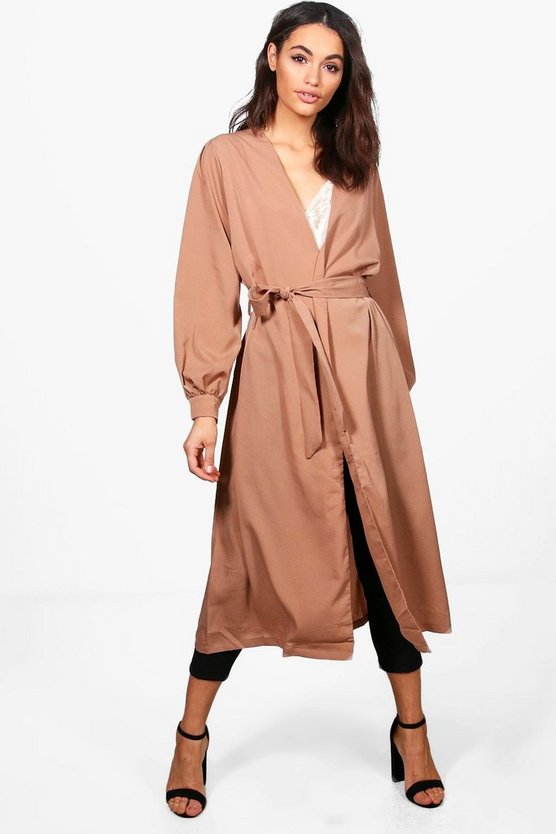 Ashleigh Balloon Sleeve Belted Duster