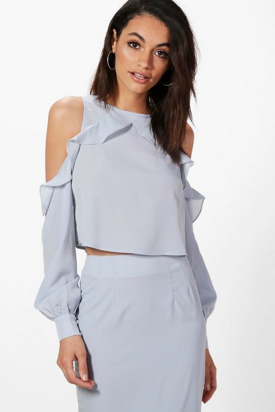 Adrienne Ruffle Cold Shoulder Top