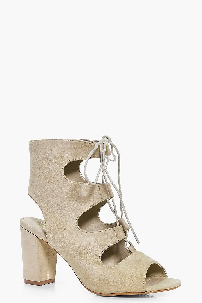 Lauren Lace Up Peeptoe Block Heel