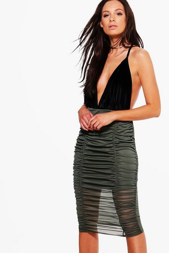 Binky Rouched Front Mesh Midi Skirt