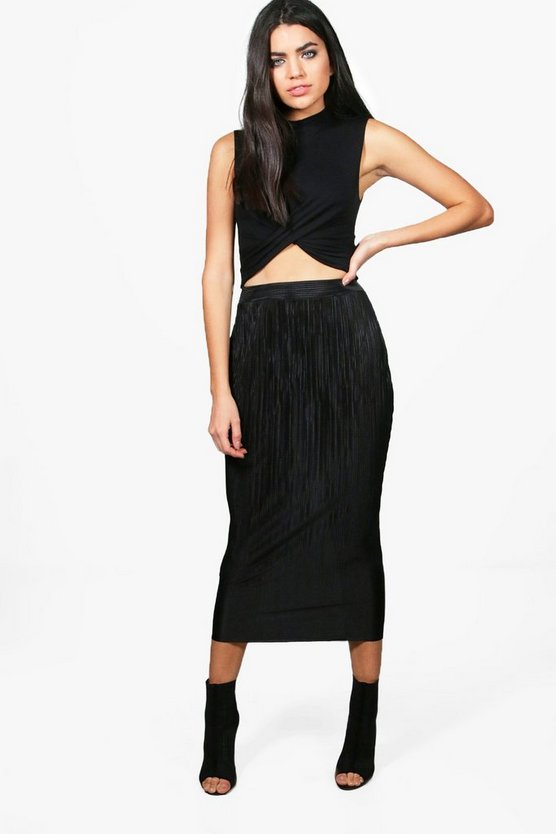 Madison Crinkle Pleat Midaxi Skirt