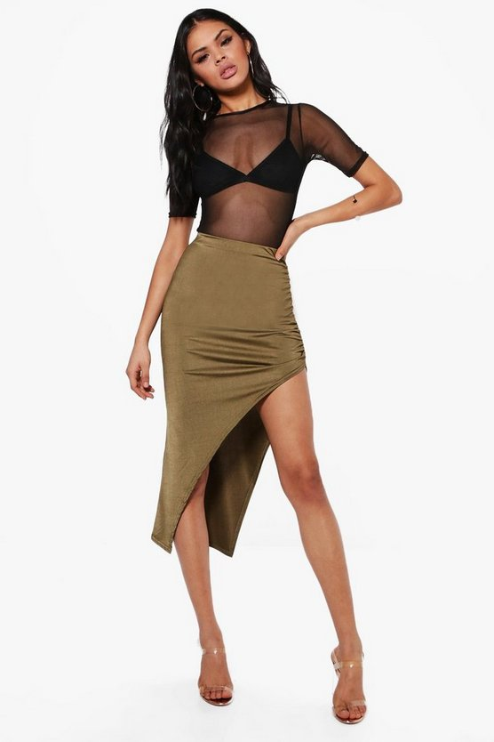 Hudson Rouched Side Thigh Split Midi Skirt