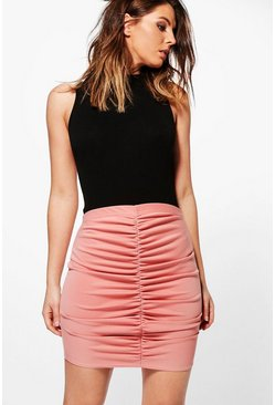 Flavia Rouched Front Scuba Mini Skirt
