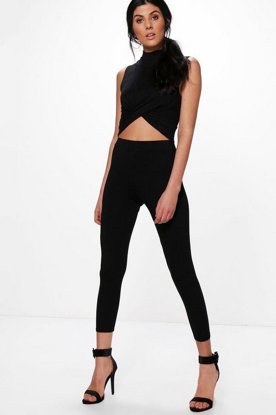 Basic High Waisted Ankle Grazer Leggings