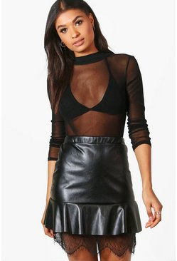 Nina Drop Hem Lace Detail Leather Look Mini Skirt