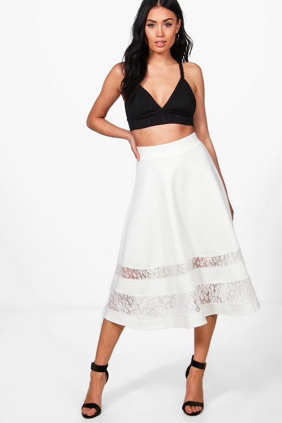Noemi Lace Insert Full Midi Skirt