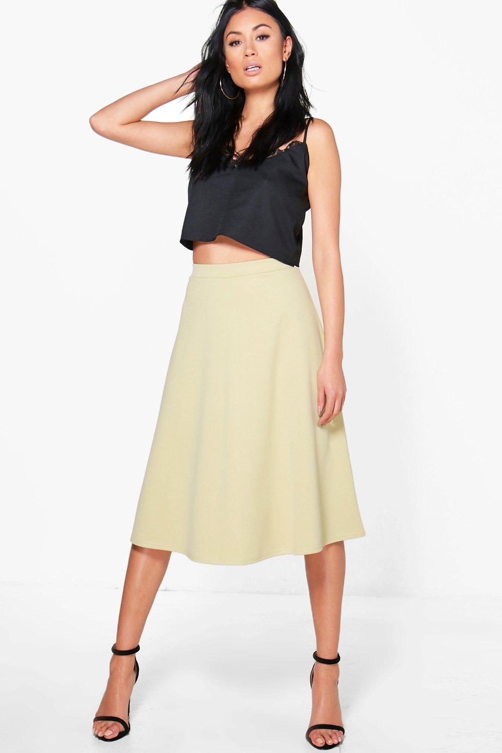 Arianna Plain Full Circle Midi Skirt at boohoo.com
