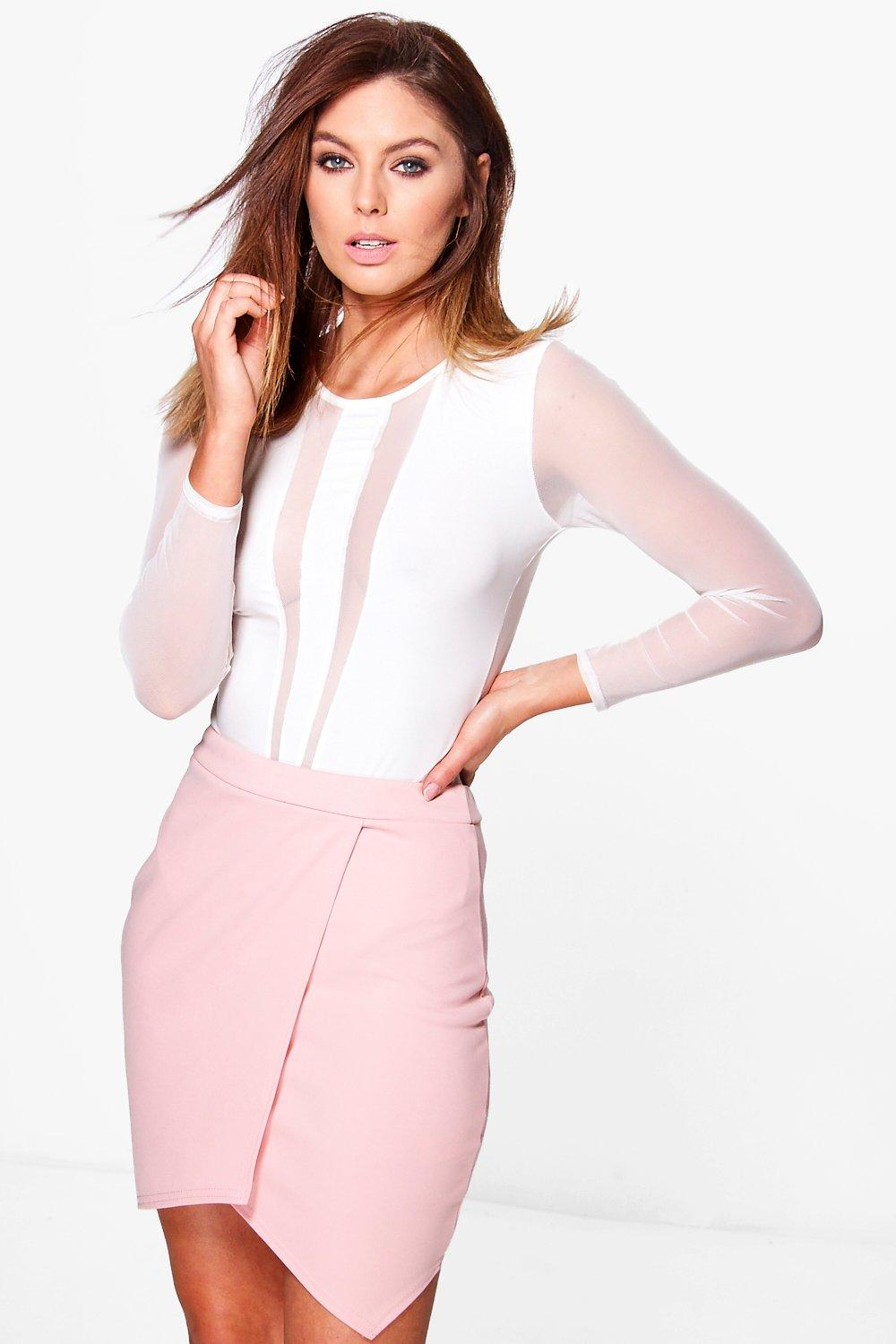 Asymetric Wrap Front Mini Skirt  dusky pink
