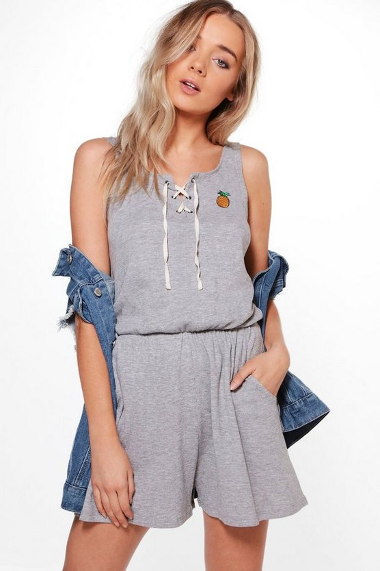 Jane Pineapple Embroidered Casual Playsuit