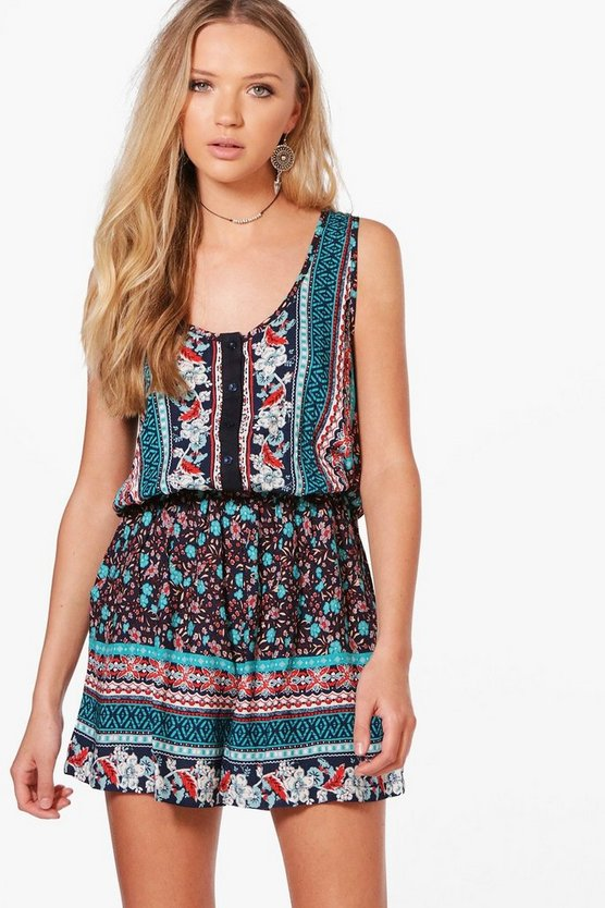 Gaynor Border Print Playsuit