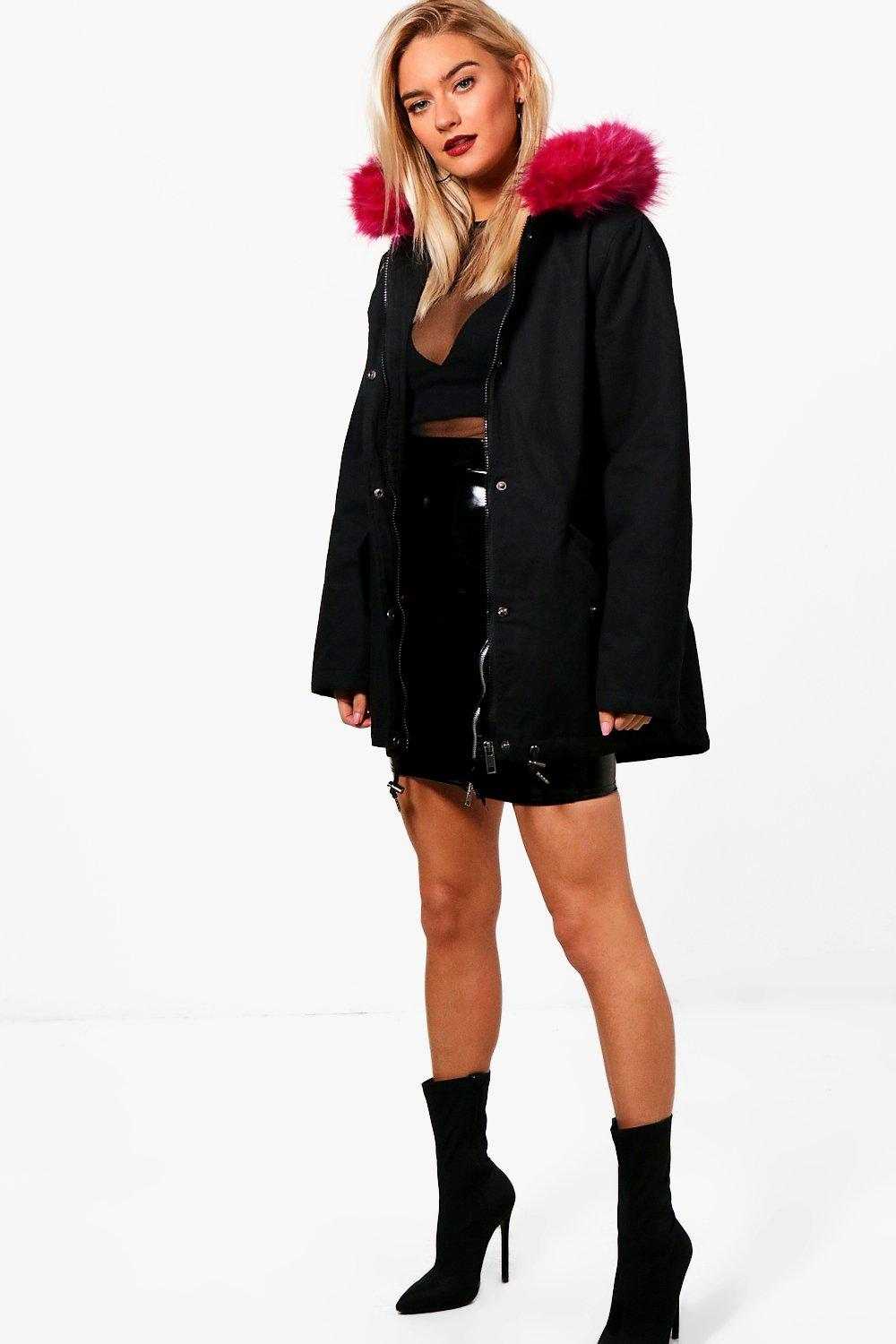 Parka With Pink Faux Fur Hood - black