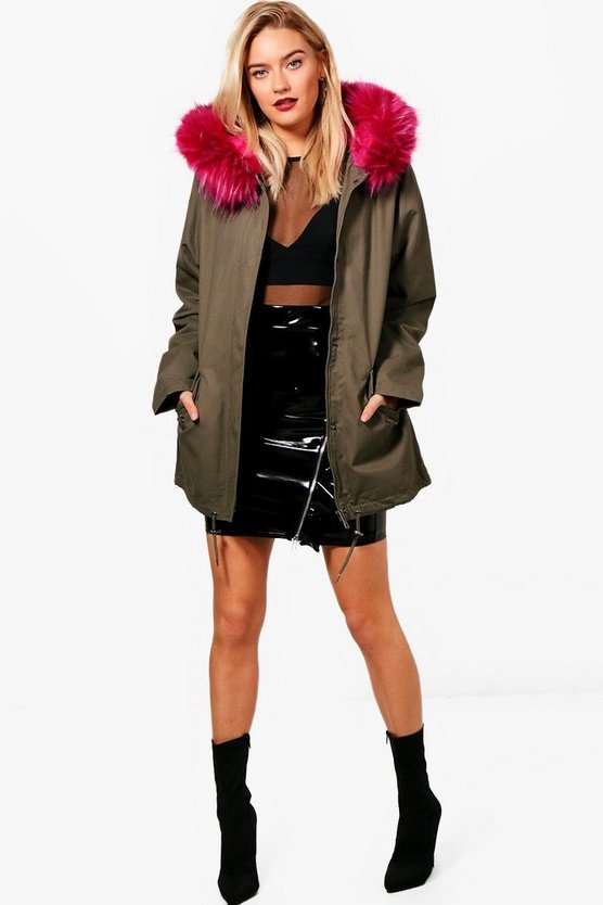 Kerry Parka With Pink Faux Fur Hood