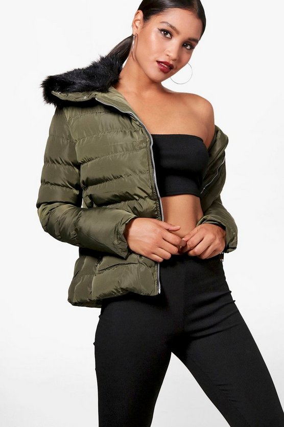 Veronica Faux Fur Collar Quilted Jacket