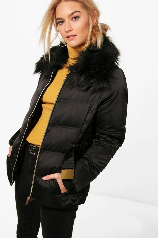Niamh Quilted Faux Fur Trim Jacket
