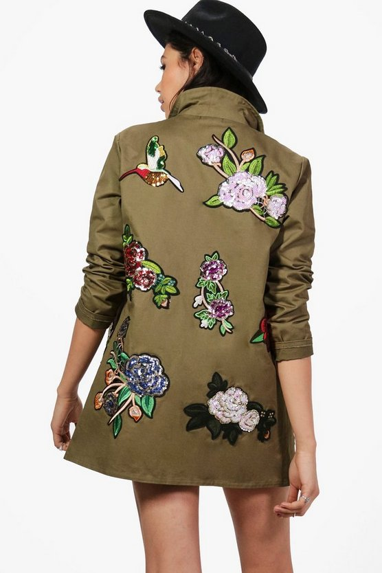 Paige Boutique Sequin Floral Military Jacket