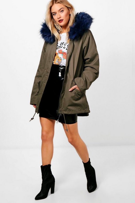 Anja Parka With Blue Faux Fur Hood