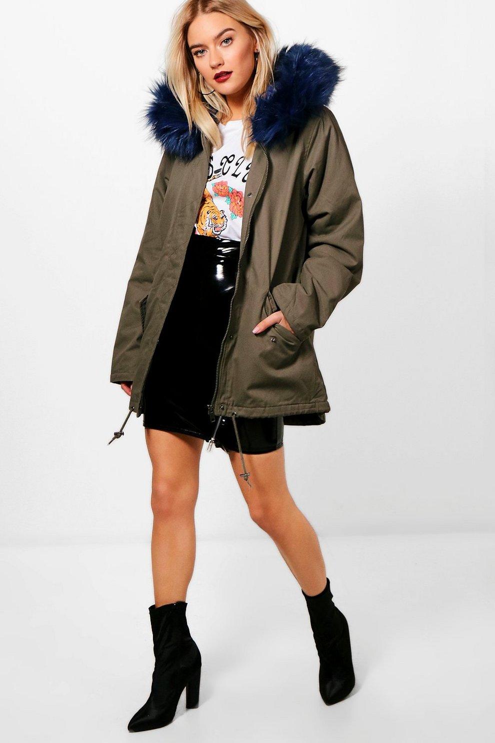 Anja Parka With Blue Faux Fur Hood | Boohoo