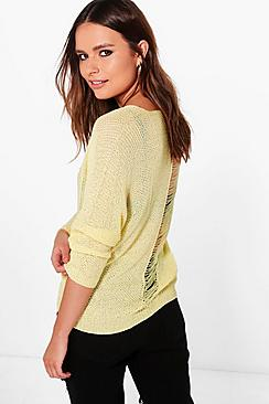 Daisy Distressed Back Jumper