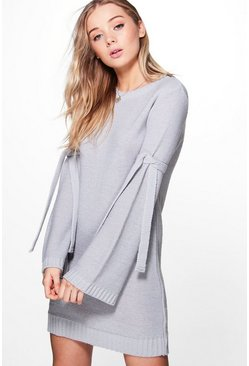 Lexi Tie Detail Wide Sleeve Jumper Dress