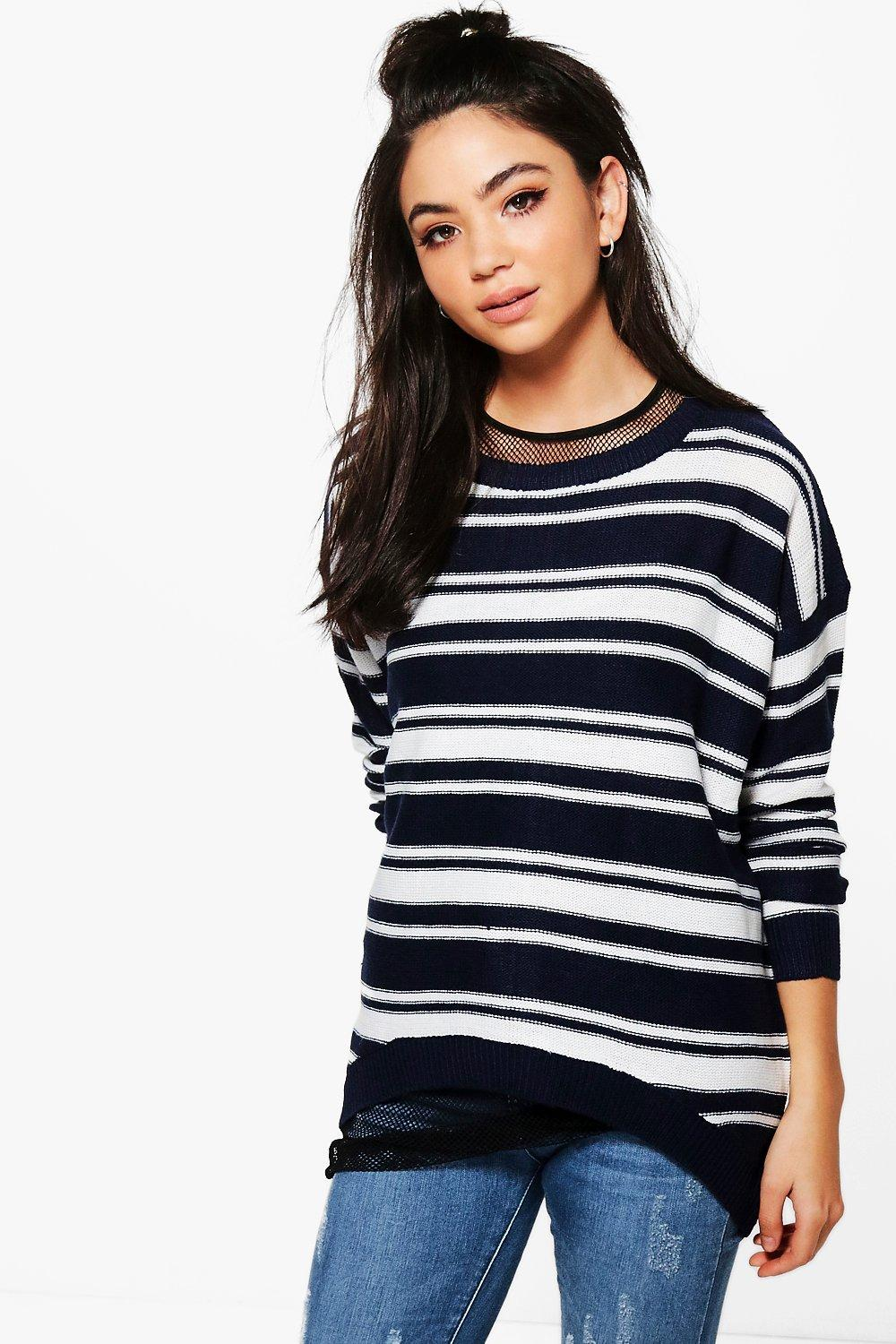 Product photo of Zip back stripe jumper navy