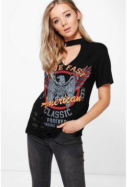 Erin Printed Choker Neck Distressed T-Shirt