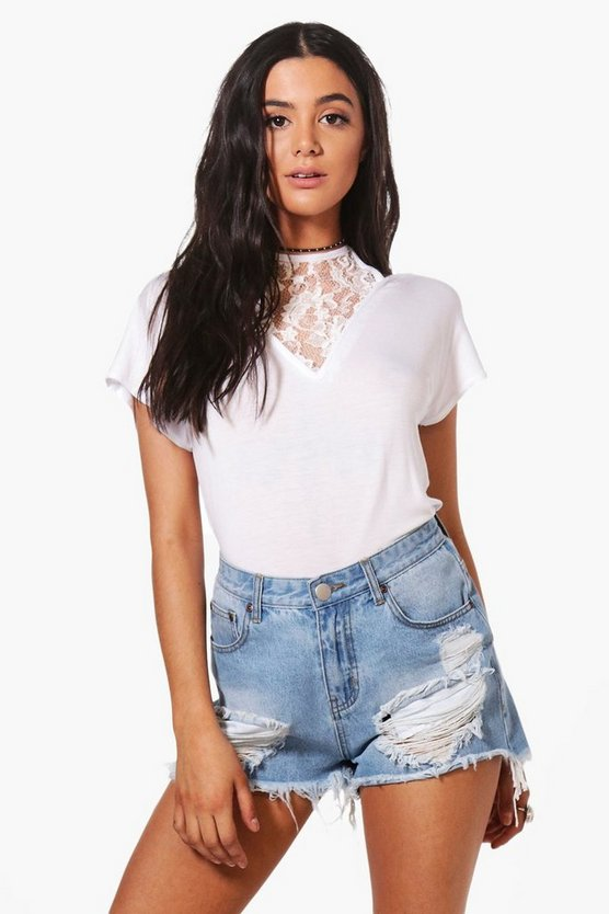 Nala Lace Panel Halter Oversized Tee