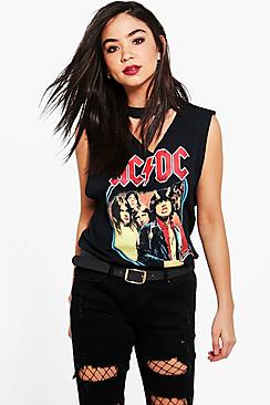 Raegan ACDC Raw Edge V Neck Band Tee