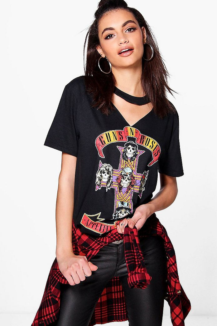 Rosie Guns N Roses Cut Out Neck Band Tee