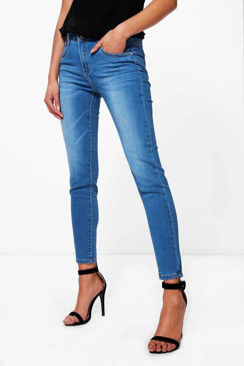 Two Button Mid Rise Skinny Jeans  mid blue