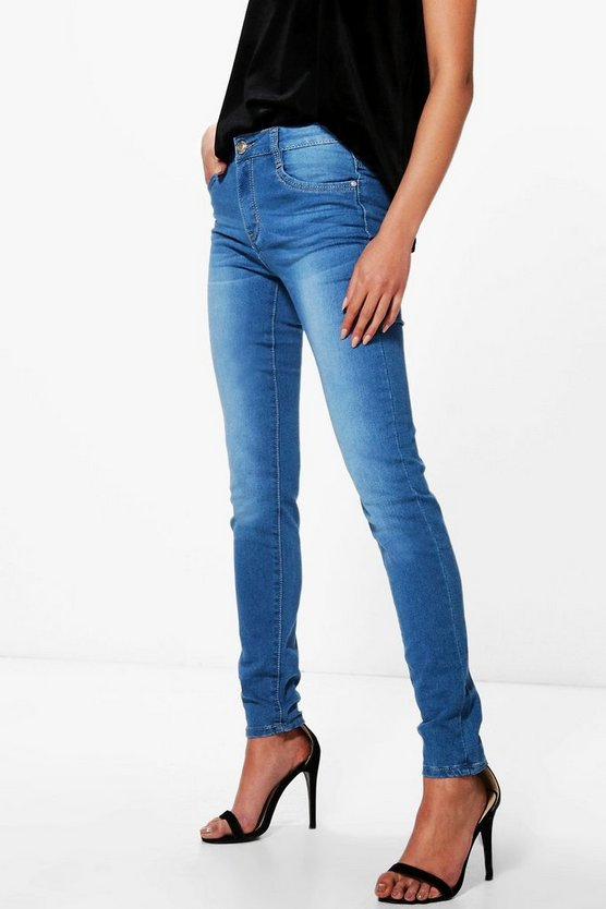 Faye Mid Rise Mid Wash Skinny Jeans
