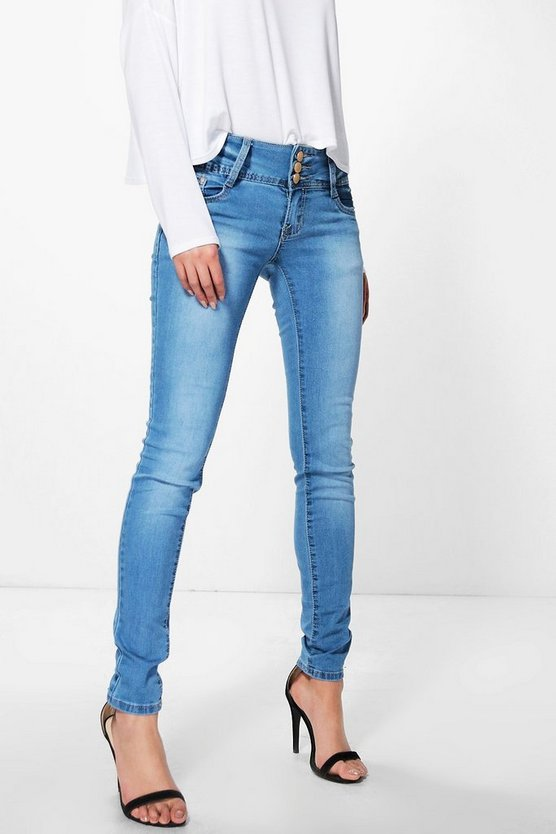 Annie 3-Button High Rise Skinny Jeans