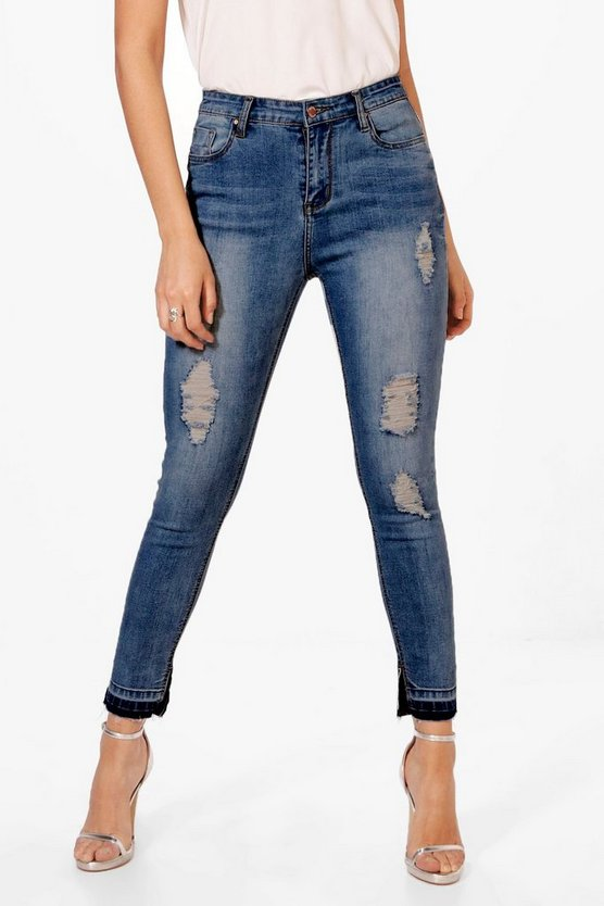 Jessie High Waist Let Down Hem Skinny Jeans