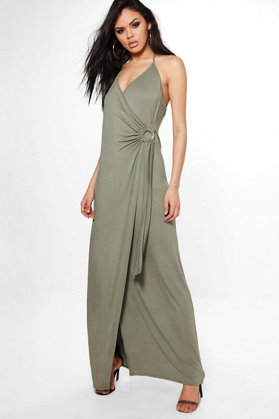 Amaris Wrap Front Strappy Maxi Dress