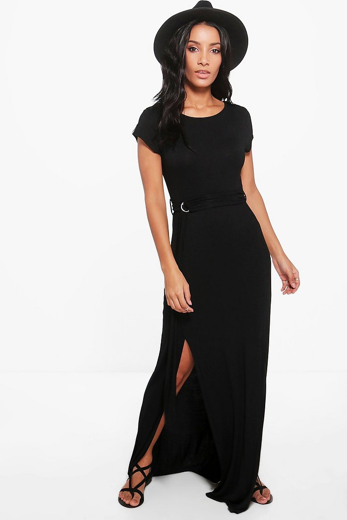 Anabel Short Sleeve Split Front Maxi Dress