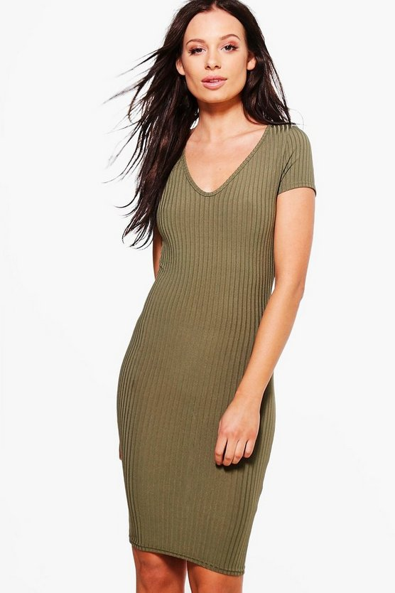 Alessa V Neck Cap Sleeve Bodycon Dress