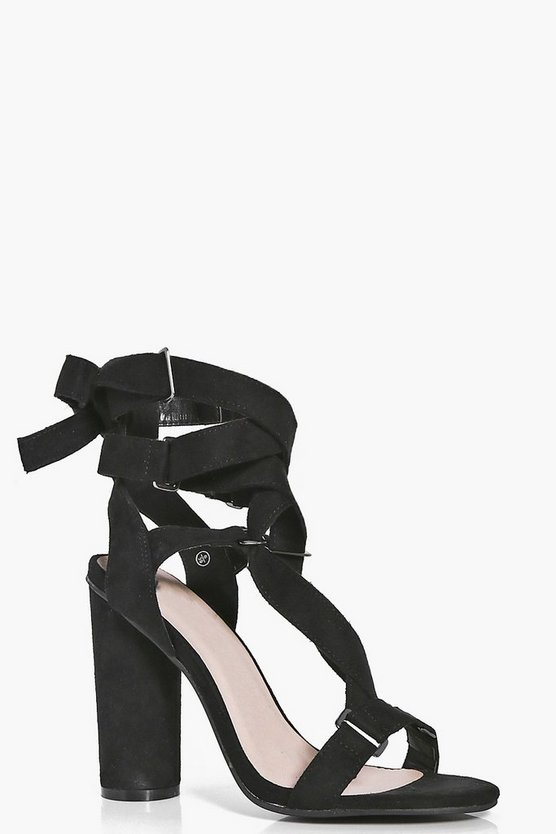Ellie Ribbon Wrap Detail Cylinder Heels