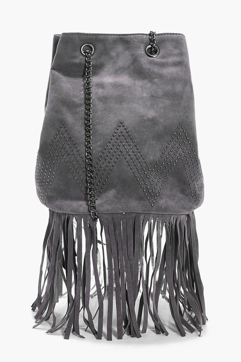 Suedette Fringed Duffle Cross Body Bag - grey - Iv