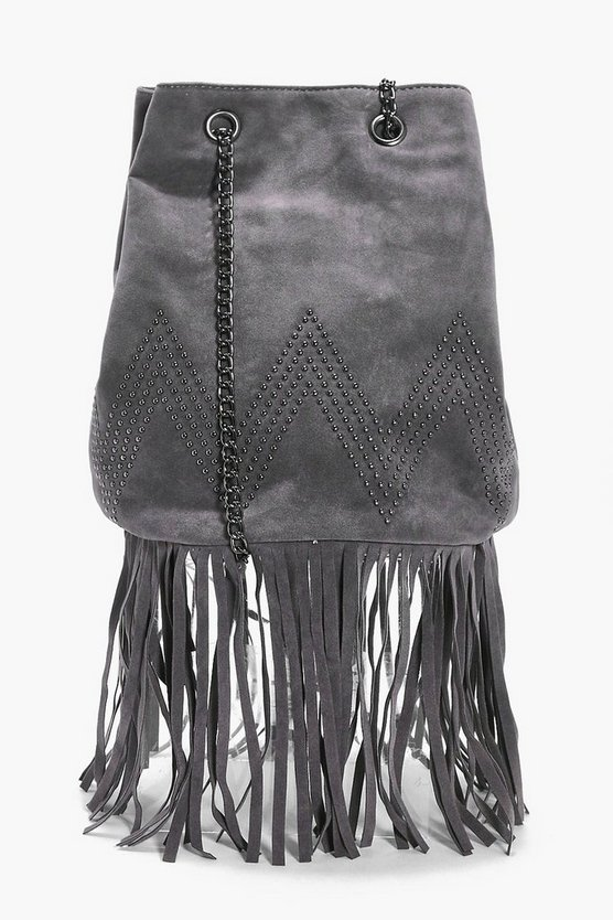 Ivy Suedette Fringed Duffle Cross Body Bag