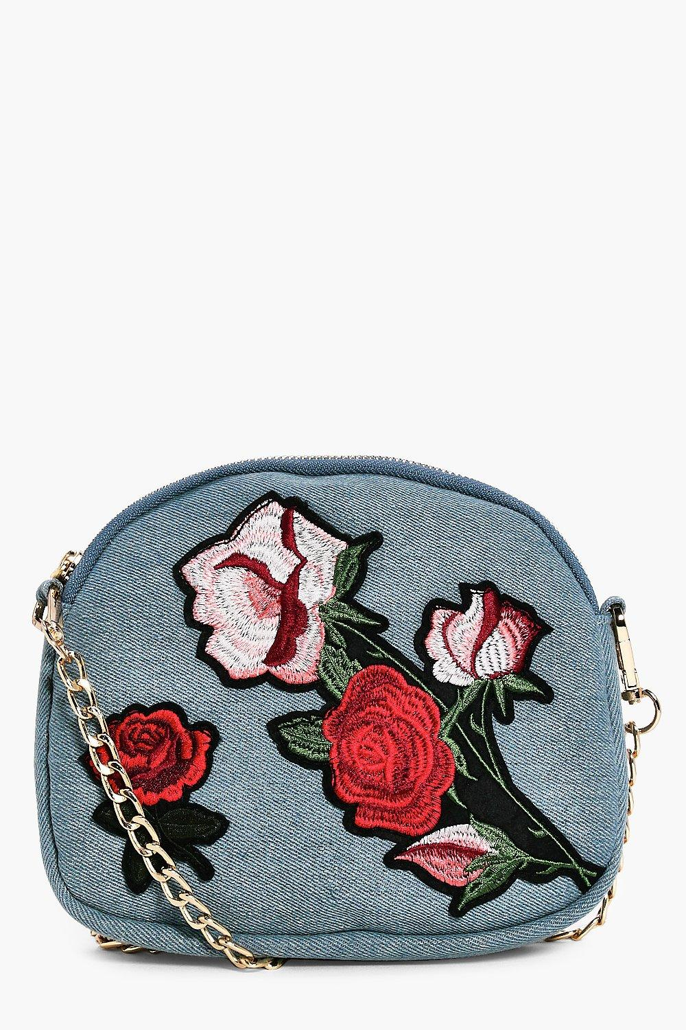 Denim Embroidered Cross Body Bag - blue - Sofia De