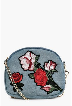 Sofia Denim Embroidered Cross Body Bag