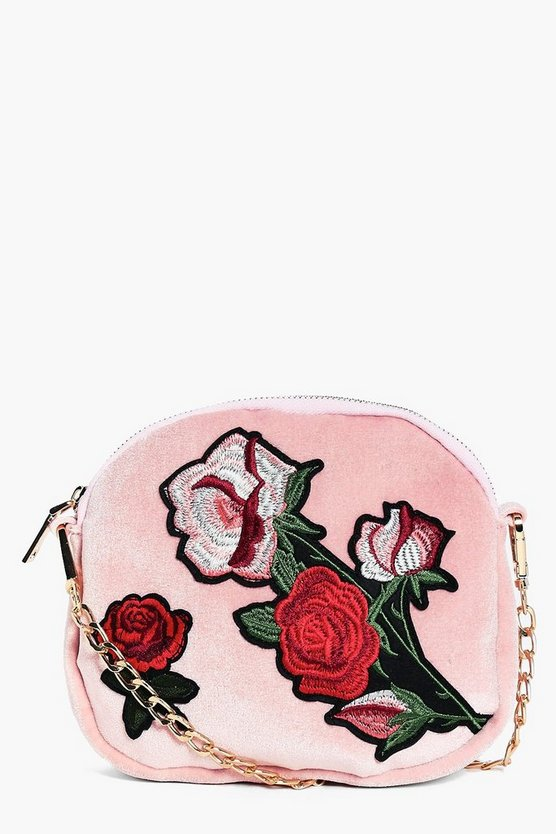 Ava Velvet Floral Embroidered Cross Body Bag