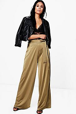 Neri Highwaist Belted Wide Leg Trousers