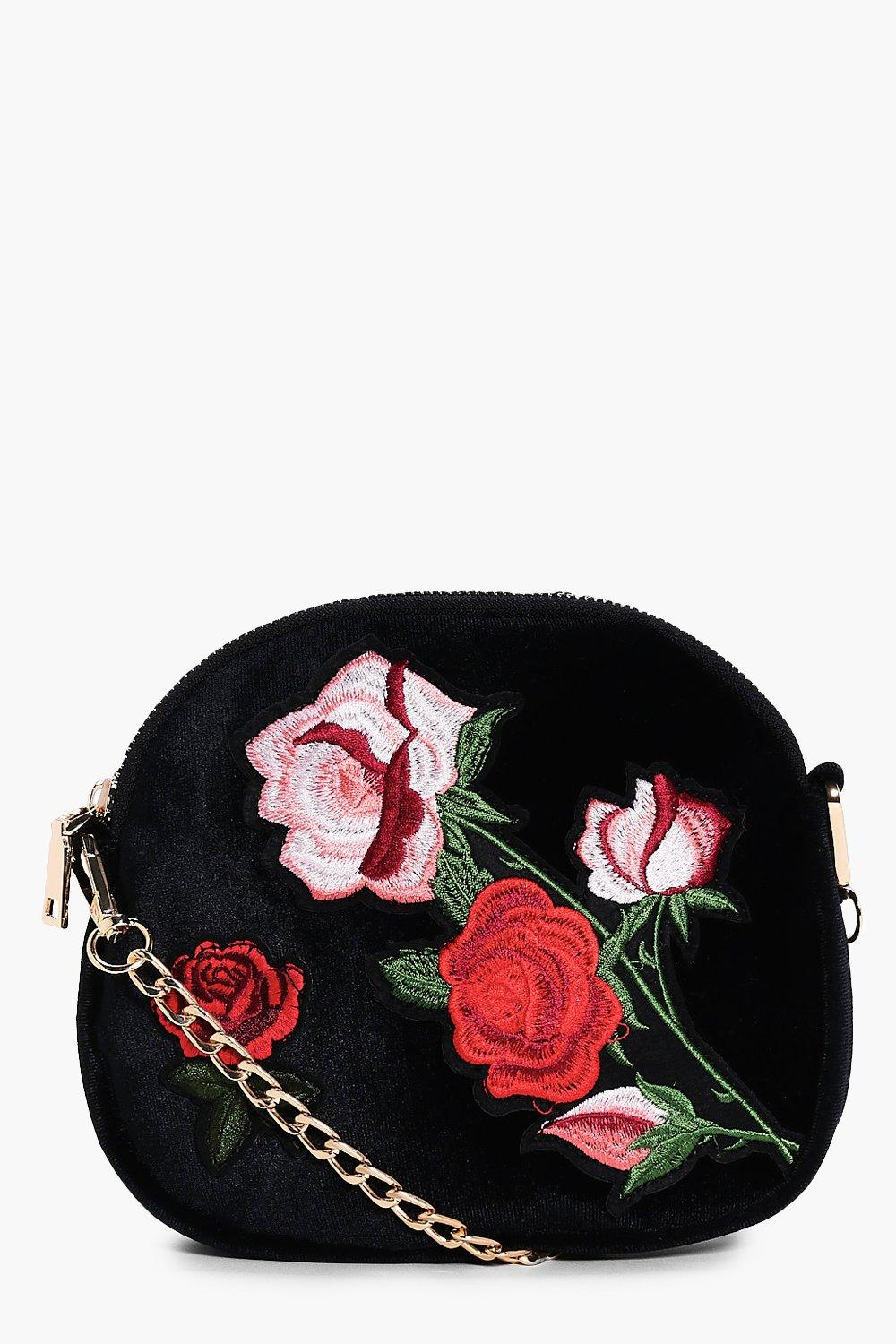 Embroidered Cross Body Bag - pink - Maisie Embroid