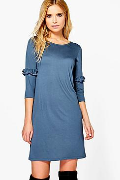 Florence Ruffle Sleeve Shift Dress