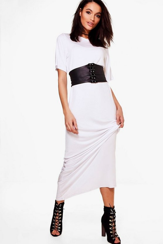 Saskia 2 in 1 Corset Belt Maxi Dress