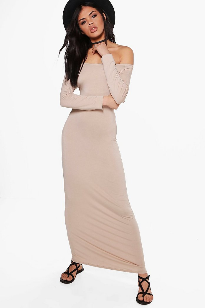 Helen Off Shoulder Long Sleeved Maxi Dress