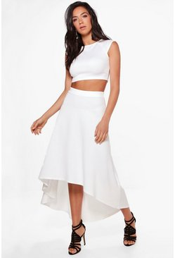 Heather Dip Hem Skirt & Crop Top Co-ord Set