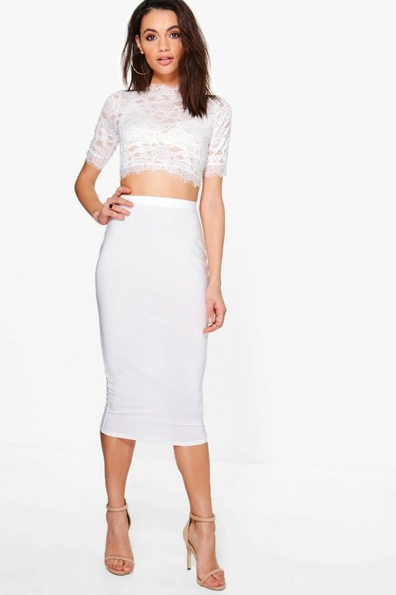 Lianne Lace Crop & Slinky Skirt Co-ord Set